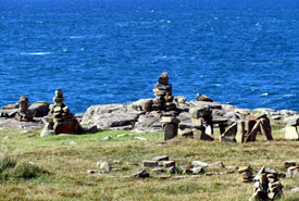 Standing stones by the sea at Neist Point.