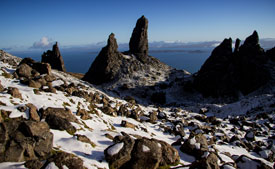 Snow at the Storr on Skye.